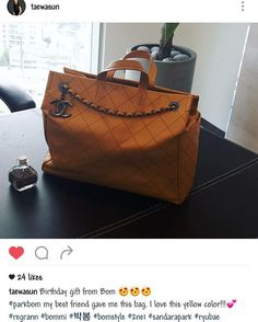 @haroobommi gave @taewasun a lovely bag for her birthday. I'm glad Bom is socialising  #parkbom#bom#haroobommi#eunjungbae#2ne1#blackjack#taewasun#friendship