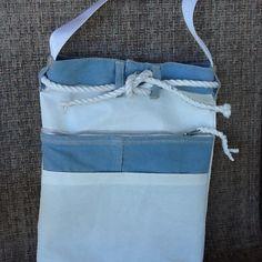 Denim jean and sailcloth tote purse bag, pockets, rope belt, crossbody…