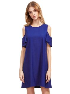Buy it now. Royal Blue Cold Shoulder Ruffle Sleeves Shift Dress. Blue Casual Polyester Round Neck Short Sleeve Shift Mini Plain Summer Tshirt Dresses. , vestidoinformal, casual, camiseta, playeros, informales, túnica, estilocamiseta, camisola, vestidodealgodón, vestidosdealgodón, verano, informal, playa, playero, capa, capas, vestidobabydoll, camisole, túnica, shift, pleat, pleated, drape, t-shape, daisy, foldedshoulder, summer, loosefit, tunictop, swing, day, offtheshoulder, smock, print...