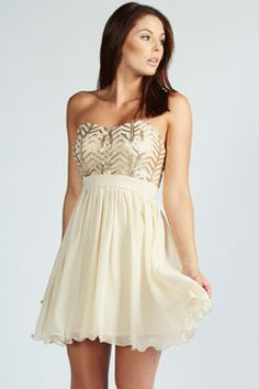 beautiful cream and gold sequin semi-formal dress Get 7% Cash Back http://www.studentrate.com/all/get-all-student-deals/Boohoo-com-Student-Discounts--/0
