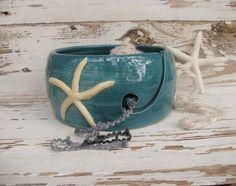 Crochet yarn bowl knit starfish ocean handmade by SeamariesBounty