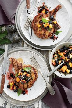 Quick-Fix Pork Chop Suppers: Pork Chops Blueberry Peach-Salsa Recipe
