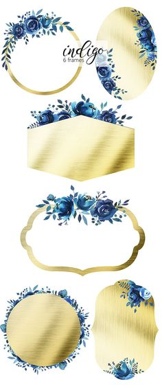 Indigo Watercolor Floral Design Collection Digital Clipart