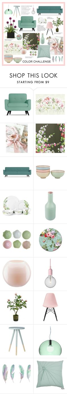 """Green and Blush"" by magnolialily-prints ❤ liked on Polyvore featuring interior, interiors, interior design, home, home decor, interior decorating, Nina Campbell, Denby, Mikasa and Bitossi"