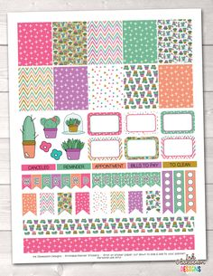 Succulents Printable Planner Stickers Weekly Kit – Erin Bradley/Ink Obsession Designs