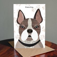 These unique greetings cards feature the quirky, characterful dog illustrations by artist Simon Hart created using collage with tweed fabrics, vintage papers and sheet music. Any dog lover would be delighted receiving one of these beautiful quality cards that come supplied with a brown kraft envelope and wrapped in clear cello bag. Left blank inside for your own message.. There are 52 breeds of dog to choose from in the Pawtraits range of cards which can all be seen as separate card listings…