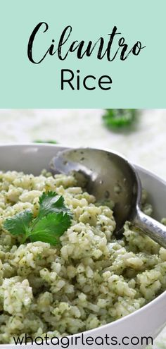 Cilantro rice is a colorful and flavorful side dish. This rice dish is quick and easy to make, just toss the rice in a  cilantro sauce with some green chiles. Serve warm or cold with any Mexican or Latin dish. This easy side dish can be made ahead and is great for picnics or potlucks. Plus, it's naturally gluten free and vegetarian  | What A Girl Eats Side Dishes For Chicken, Pasta Side Dishes, Potato Side Dishes, Healthy Side Dishes, Side Dishes Easy, Vegetable Side Dishes, Rice Dishes, Vegan Dishes, Side Dish Recipes