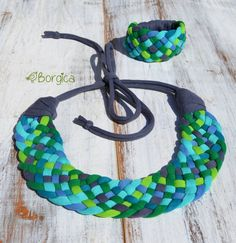 Pacific Weaving Statement Bib Set - colorful green blue turquoise recycled fabric jewelry upcycled fiber necklace and bracelet