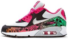 Women's Nike Air Max 90 Print GS Trainers in Fancy Pink & Silver 704953-001