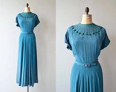 Adrastea dress vintage 1940s dress full length 40s dress
