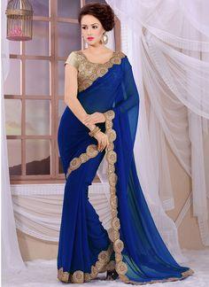 22f9c9c89c3252 Buy Royal Blue Party Wear Saree