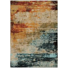 Agave Eroded Abstract Blue/Red Area Rug