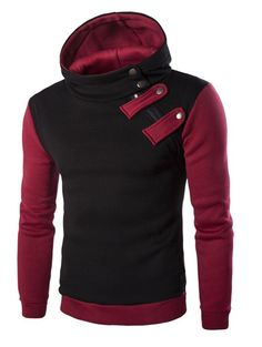 Fashionable Inclined Zipper Color Block Hooded Long Sleeves Hoodie For Men