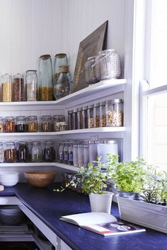 """We visited Margaret, who told us that she uses open storage in the kitchen so that """"all our visitors can find their way around the kitchen and help out."""""""
