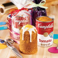These whimsical mini spice cakes are not only baked in soup cans, but they also use tomato soup in the batter to make the cakes especially moist and flavorful: http://www.recipe.com/spiced-tomato-soup-cancakes/?socsrc=recpinn120312spicedtomatosoupcancakes