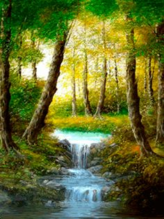 Chat on LiveInternet – Russian C … - Painting Fantasy Landscape, Landscape Art, Landscape Paintings, Pictures To Paint, Nature Pictures, Beautiful Paintings, Beautiful Landscapes, Waterfall Paintings, Bob Ross Paintings