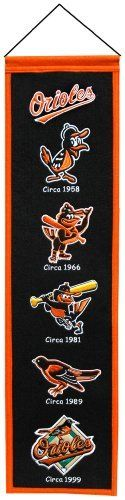 """MLB Baltimore Orioles Heritage Banner by Winning Streak. $21.99. 70% Wool/ 30% Acrylic. A uniquely hand-crafted, vintage style, wool banner featuring intricate embroidery and applique design detail.. One 32"""" x 8"""" MLB licensed wool banner chronicling the evolution of team logos over time.. Genuine wool blend fabric.. This unique wool, vintage style banner is decorated with distinctive embroidery and applique detail, and highlights the evolution of logos over time..."""