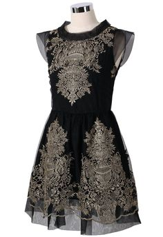 Embroidery Black Dress.