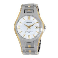 Armitron Men's 20/4413SVTT Two-Tone Bracelet and Silver Dial Dress Watch Armitron. $50.00. Gold-tone hour hands and markers. Sweep second hand. Date window at three o'clock and roman numerals at 12-6-9. Two-tone bracelet with silver two step dial. Water-resistant to 165 feet (50 M). Save 29%!