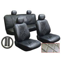 Unique 13Pcs Leatherette Infiniti Black Seat Cover set Steering,Seat Belt Pad (Color), Multi