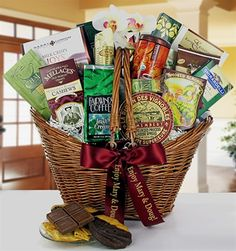 Enjoy the comforts of home with this deluxe gourmet gift basket.