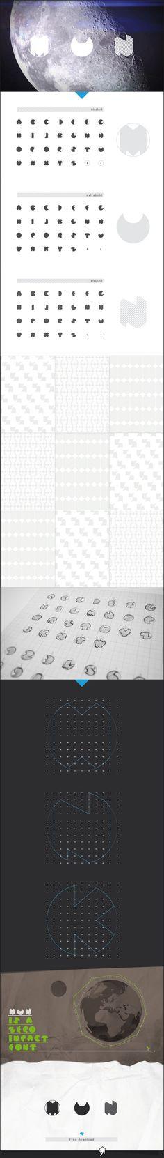 Mun typeface - Free experimental font by Vincenzo Vuono, via Behance