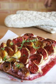 Fresh fig tart with lemon and thyme. So creamy. And juicy. And syrupy ...