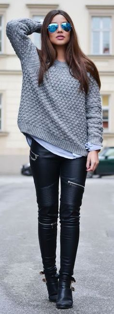 Black Leather Pants + Grey Sweater