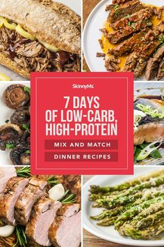 7 Days of Low-Carb, High-Protein Mix and Match Dinner Recipes Healthy Family Meals, Healthy Dinner Recipes, Skinny Recipes, Clean Eating Recipes, Healthy Eating, Italian Baked Chicken, High Protein Dinner, Slow Cooker Italian Beef, Protein Mix