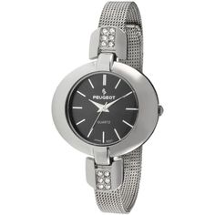 Peugeot Stainless Steel Crystal-Accented Watch ($40) ❤ liked on Polyvore featuring jewelry, watches, retro watches, stainless steel jewelry, peugeot watches, retro jewelry and grey watches