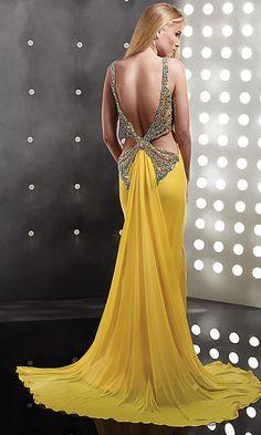low back yellow prom dress