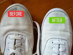 make your sneakers shining white again one tsp of dishwasher cleaning liquid; three T hydrogen peroxide; two T of baking soda. Household Cleaning Tips, Cleaning Checklist, House Cleaning Tips, Diy Cleaning Products, Cleaning Solutions, Cleaning Hacks, Do It Yourself Quotes, Laundry Hacks, Clean Dishwasher