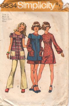 Simplicity 9834 1970s Misses Mini Dress Smock and by mbchills