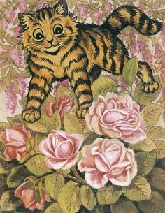 Cat In The Rose Bush | Louis Wain