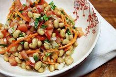 Salada de Soja com Cenoura e Vinagrete para uma refeição leve e saudável!