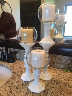 Dollar Tree Candle Holders, Dollar Tree Candles, Dollar Tree Decor, Diy Candles, Dollar Tree Mirrors, Dollar Store Centerpiece, Diy Centerpieces, Valentine Tree, Valentines