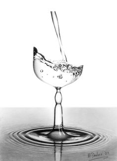"Saatchi Online Artist: Matthew Deakin; Pencil, Drawing ""A Glass of Water........or is it?"""