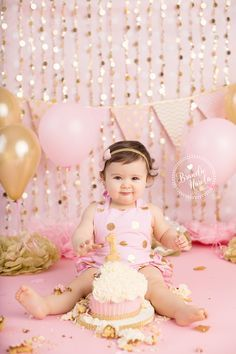 1st birthday photos. Pink and gold 1st birthday. First birthday cake smash. Smash cake. Smash the cake,