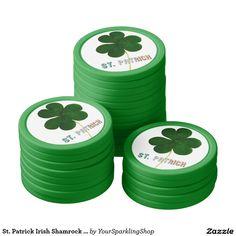 St. Patrick Irish Shamrock Clover Ireland Poker Chips #StPatrick