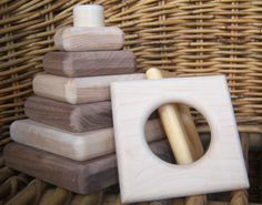 Wood Stacker Toy Set Wooden Stacking Toy for by TickiTackiToys, $33.00