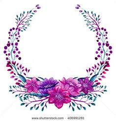 ✼ ✻ ✺ ✹ ✸ ✷ ₪ ❃ ❂ ❁ ❀ Wreath Watercolor, Watercolor Flowers, Floral Frames, Frame Background, Name Art, Borders And Frames, Motif Floral, Flower Backgrounds, Vintage Diy