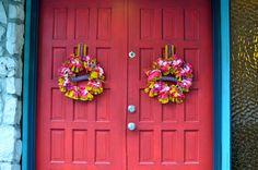 wreaths and RED door