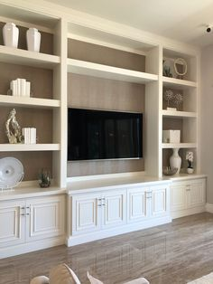 Built In Tv Cabinet, Built In Wall Units, Tv Built In, Built In Cabinets, Built In Shelves Living Room, Living Room Wall Units, Home Living Room, Living Room Designs, Living Room Decor