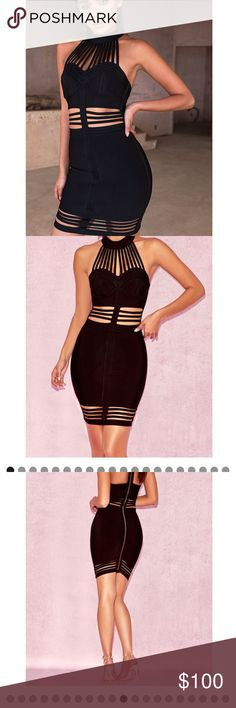House of CB SIANNA BLACK HALTER BANDAGE DRESS Size XS house of cb dress, worn 1 time for only a couple of hours, basically brand new. house of cb Dresses