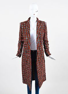 Red, Black, and White Haider Ackermann Wool Blend Tweed Long Coat