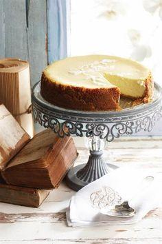 Gesonder romerige gebakte kaaskoek