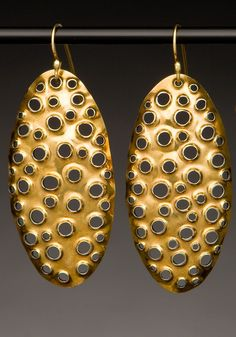 Sharon Saint Don, Large, 22k, Brushed Gold Statement Earrings- Oval, Unique, Perforated, Bimetal, Big, Dangle, Modern, Simple, Contemporary, Hand Made, Bridal; $660.00 USD