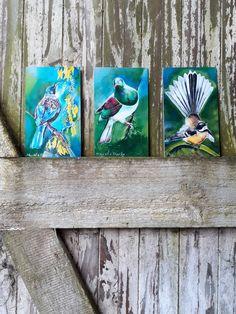 Enjoy exclusive for SPECIAL. A Trio 3 Birds, x Tui Kowhai, Fantail Kereru MINI OUtdoor Art Panels special discounted price. Tui Bird, Outdoor Wall Art, Three Birds, Panel Art, Tile Art, Silk Painting, Botanical Prints, Mini, Fine Art Prints