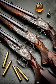 Holland & Holland Westley Richards and J Purdey Double Rifles Duck Hunting Gear, Hunting Rifles, Weapons Guns, Guns And Ammo, Side By Side Shotgun, Gun Art, Shooting Guns, Fire Powers, Firearms