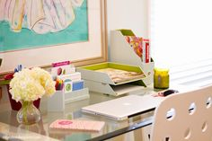 Home office Organisation . plenty of home office tips on this link . Diy Organisation, Office Supply Organization, Organizing, Home Office Space, Office Spaces, Work Spaces, Getting Organized, Organized Desk, Office Decor